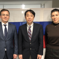 (From left to right) Mr. Igor Titov, Vice President Shigeo Tanaka, Associate professor Aida Mammadova